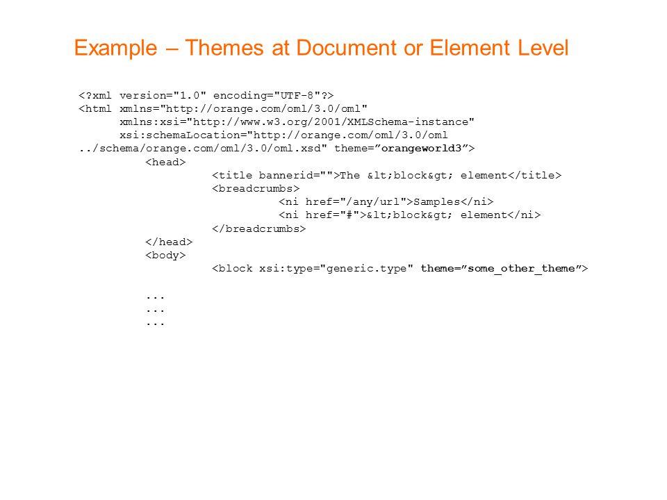 Example – Themes at Document or Element Level <html xmlns= http://orange.com/oml/3.0/oml xmlns:xsi= http://www.w3.org/2001/XMLSchema-instance xsi:schemaLocation= http://orange.com/oml/3.0/oml../schema/orange.com/oml/3.0/oml.xsd theme= orangeworld3 > The <block> element Samples <block> element...
