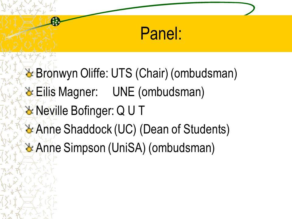 Panel: Bronwyn Oliffe: UTS (Chair) (ombudsman) Eilis Magner: UNE (ombudsman) Neville Bofinger: Q U T Anne Shaddock (UC) (Dean of Students) Anne Simpson (UniSA) (ombudsman)