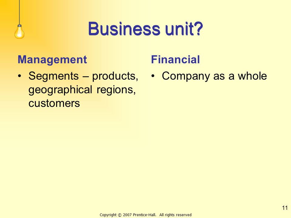 Copyright © 2007 Prentice-Hall. All rights reserved 11 Business unit? Management Segments – products, geographical regions, customers Financial Compan