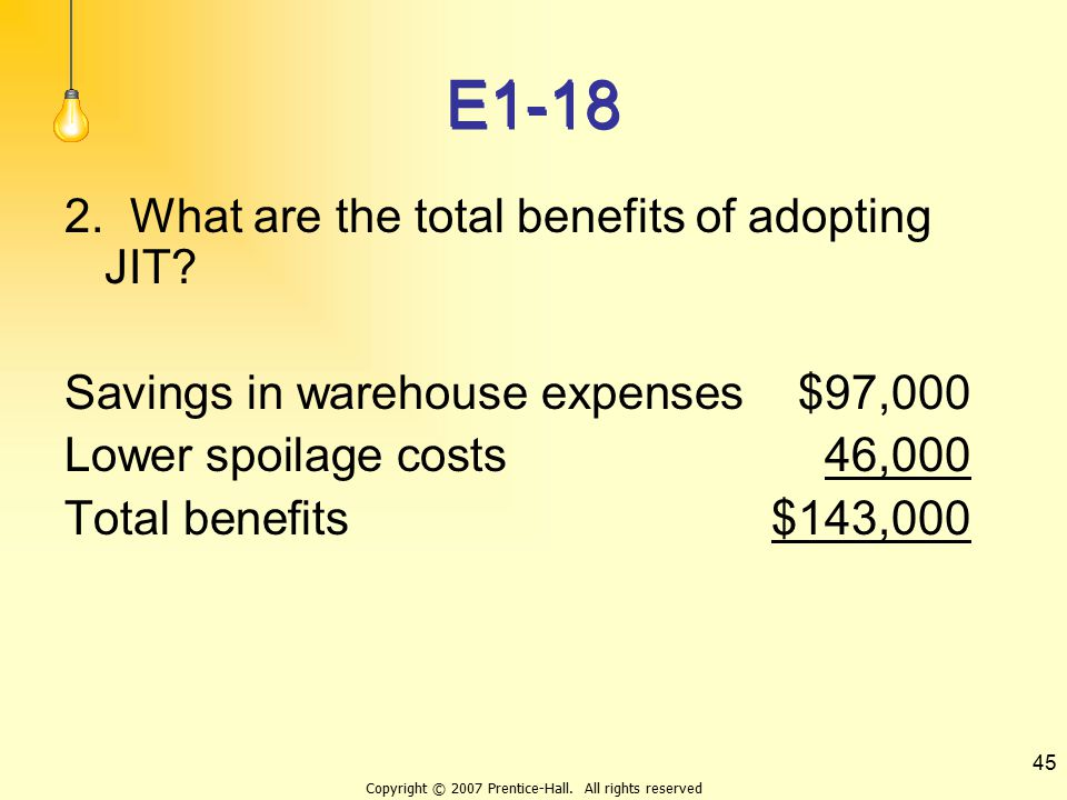 Copyright © 2007 Prentice-Hall. All rights reserved 45 E1-18 2. What are the total benefits of adopting JIT? Savings in warehouse expenses$97,000 Lowe