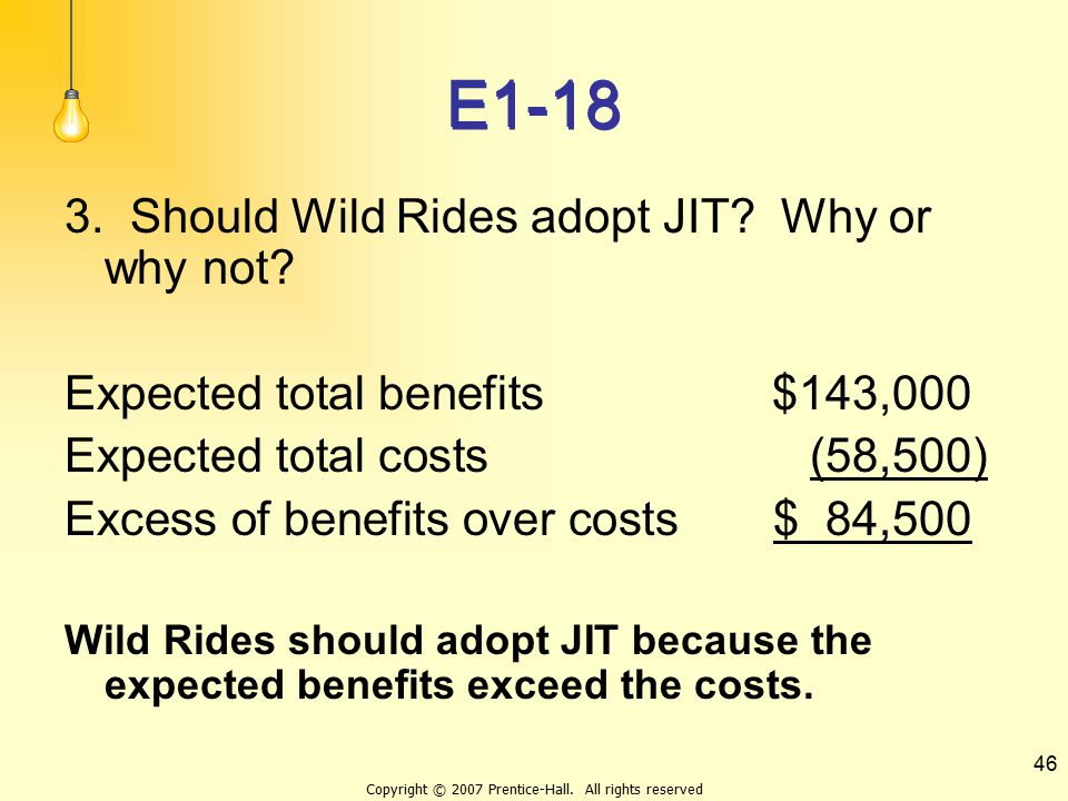 Copyright © 2007 Prentice-Hall. All rights reserved 46 E1-18 3. Should Wild Rides adopt JIT? Why or why not? Expected total benefits$143,000 Expected