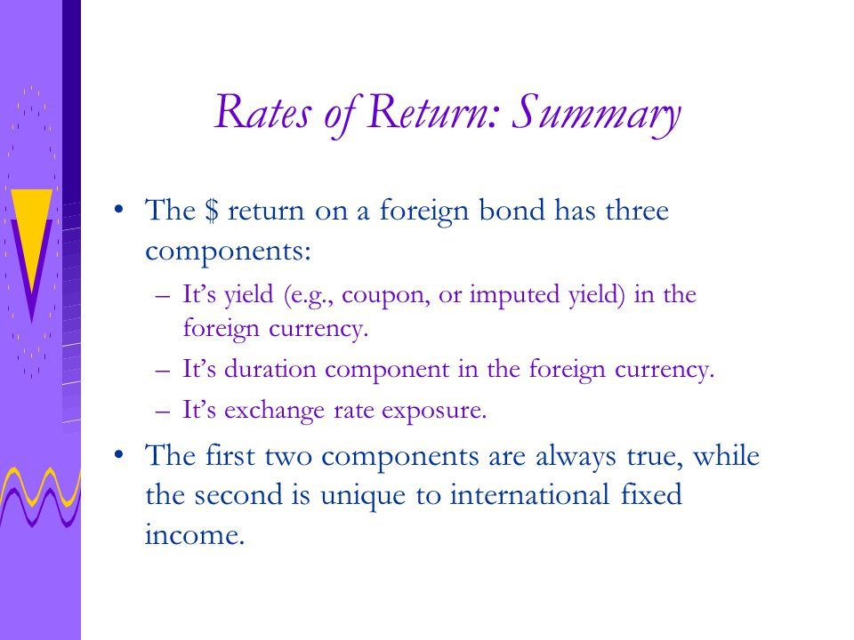 Rates of Return: Summary Continued...
