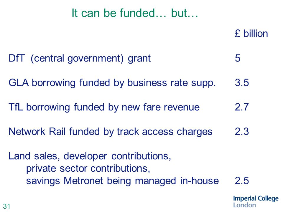 31 It can be funded… but… £ billion DfT (central government) grant 5 GLA borrowing funded by business rate supp.3.5 TfLborrowing funded by new fare revenue2.7 Network Rail funded by track access charges2.3 Land sales, developer contributions, private sector contributions, savings Metronet being managed in-house2.5
