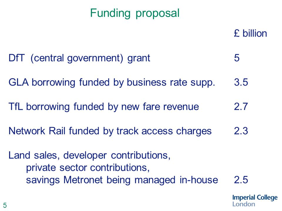 5 Funding proposal £ billion DfT (central government) grant 5 GLA borrowing funded by business rate supp.3.5 TfLborrowing funded by new fare revenue2.7 Network Rail funded by track access charges2.3 Land sales, developer contributions, private sector contributions, savings Metronet being managed in-house2.5