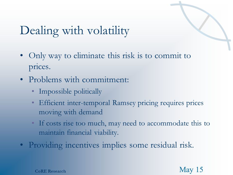 May 15 CoRE Research Dealing with volatility Only way to eliminate this risk is to commit to prices. Problems with commitment: Impossible politically
