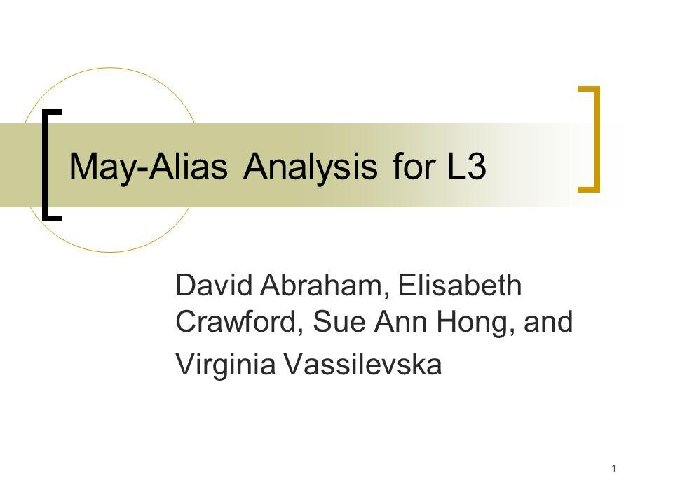 1 May-Alias Analysis for L3 David Abraham, Elisabeth Crawford, Sue Ann Hong, and Virginia Vassilevska