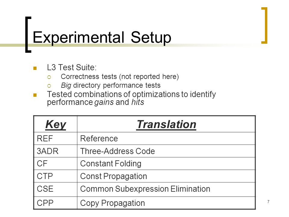 7 Experimental Setup L3 Test Suite:  Correctness tests (not reported here)  Big directory performance tests Tested combinations of optimizations to identify performance gains and hits KeyTranslation REFReference 3ADRThree-Address Code CFConstant Folding CTPConst Propagation CSECommon Subexpression Elimination CPPCopy Propagation