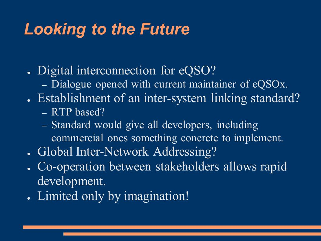 Looking to the Future ● Digital interconnection for eQSO.