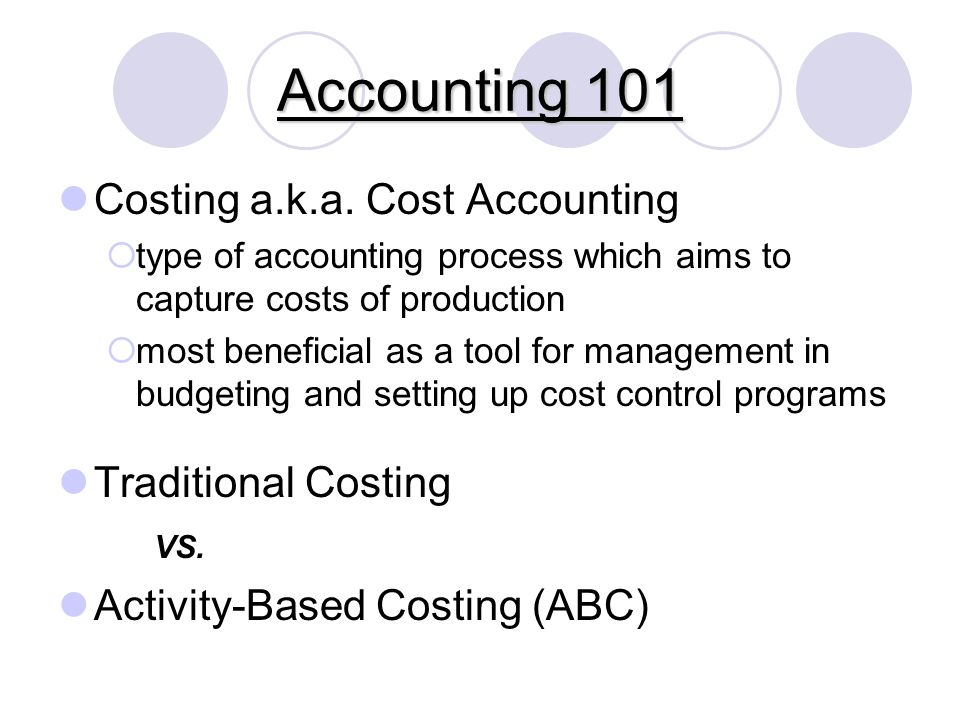 Accounting 101 Costing a.k.a.