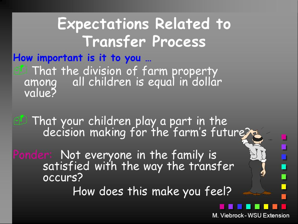 M. Viebrock - WSU Extension Expectations Related to Transfer Process How important is it to you …   That the division of farm property among all chi