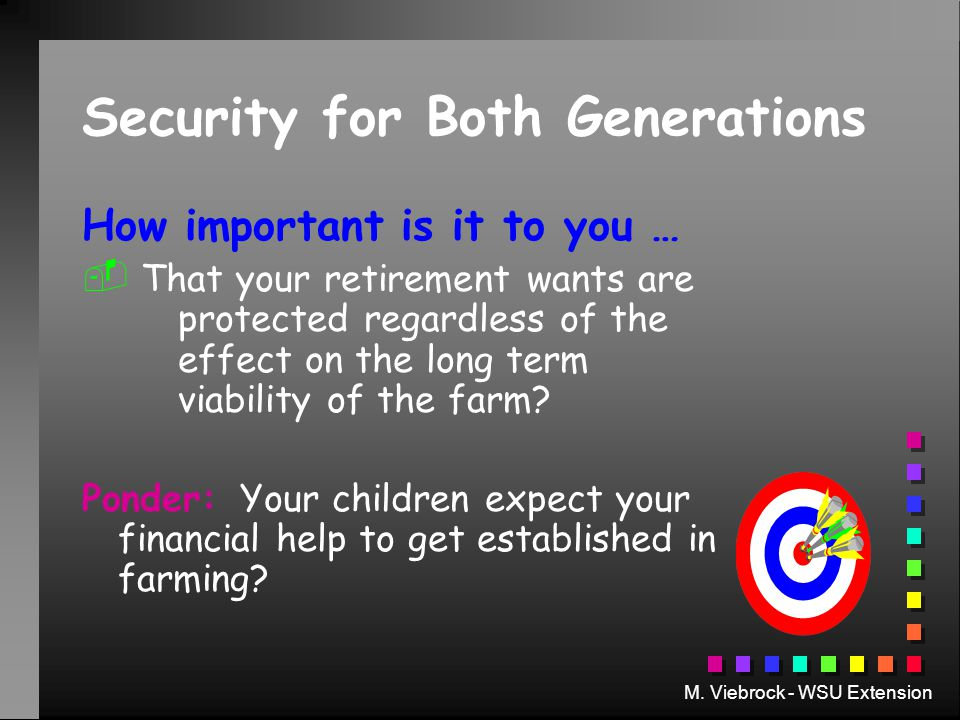 M. Viebrock - WSU Extension Security for Both Generations How important is it to you …   That your retirement wants are protected regardless of the