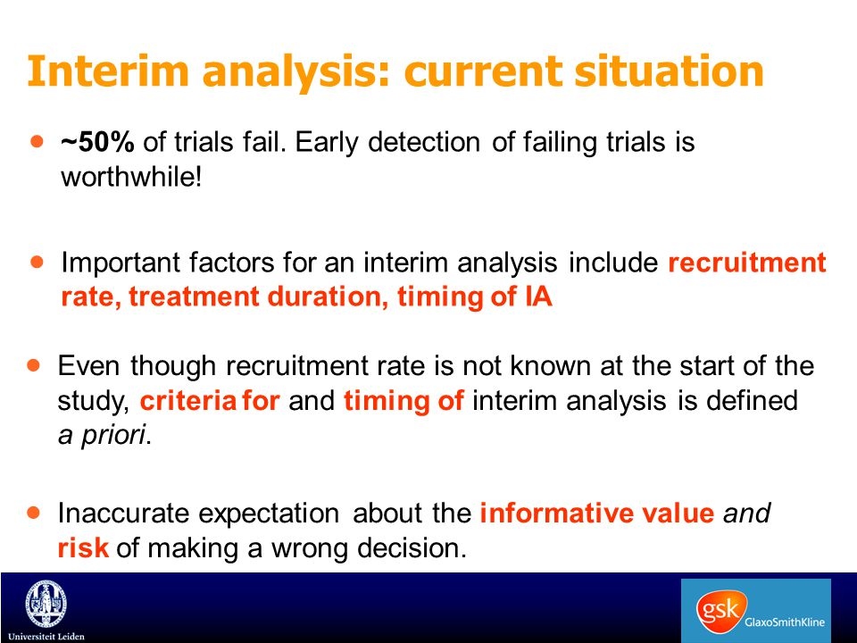 Interim analysis: current situation  ~50% of trials fail.