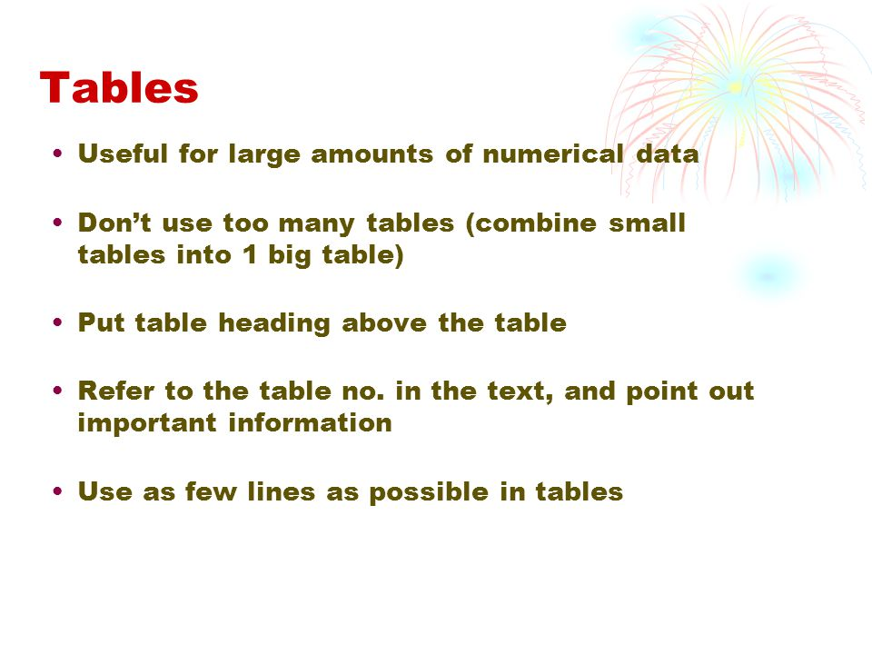Tables Useful for large amounts of numerical data Don't use too many tables (combine small tables into 1 big table) Put table heading above the table Refer to the table no.