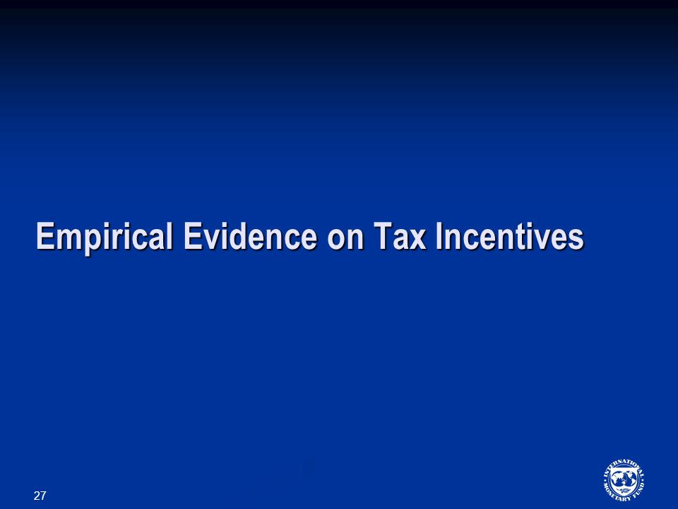 27 Empirical Evidence on Tax Incentives