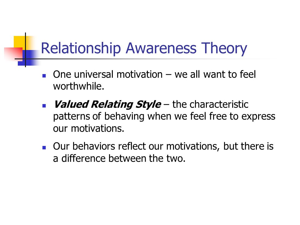 Relationship Awareness Theory One universal motivation – we all want to feel worthwhile.