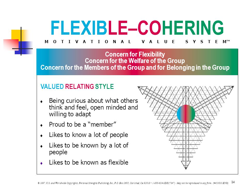 FLEXIBLE–COHERING M O T I V A T I O N A L V A L U E S Y S T E M™ VALUED RELATING STYLE 14 © 1997, U.S.