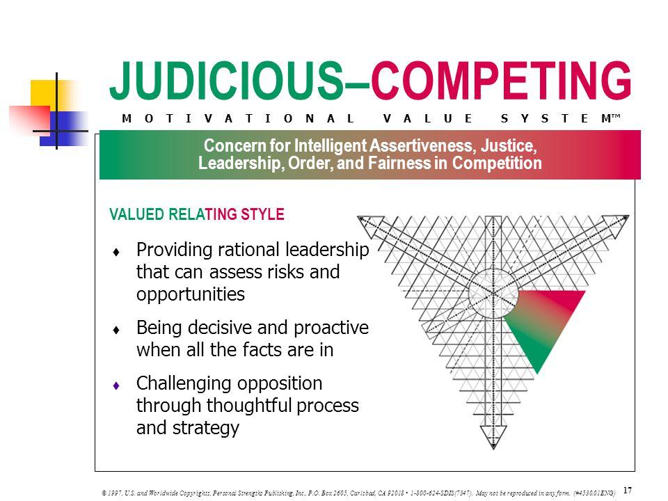 JUDICIOUS–COMPETING M O T I V A T I O N A L V A L U E S Y S T E M™ VALUED RELATING STYLE 17 © 1997, U.S.