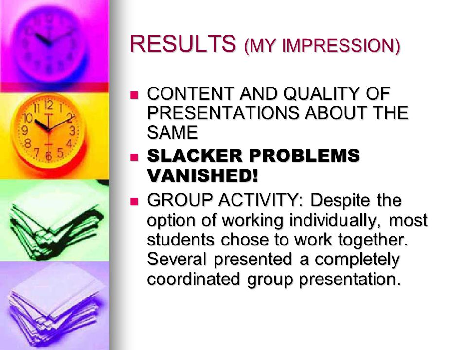 Group Presentation Students may choose to present as individuals or with the group Students may choose to present as individuals or with the group Groups may use one powerpoint or individual powerpoints Groups may use one powerpoint or individual powerpoints Each Individual is responsible for his/her issue, but must also coordinate with the group to make sure there is no overlap.