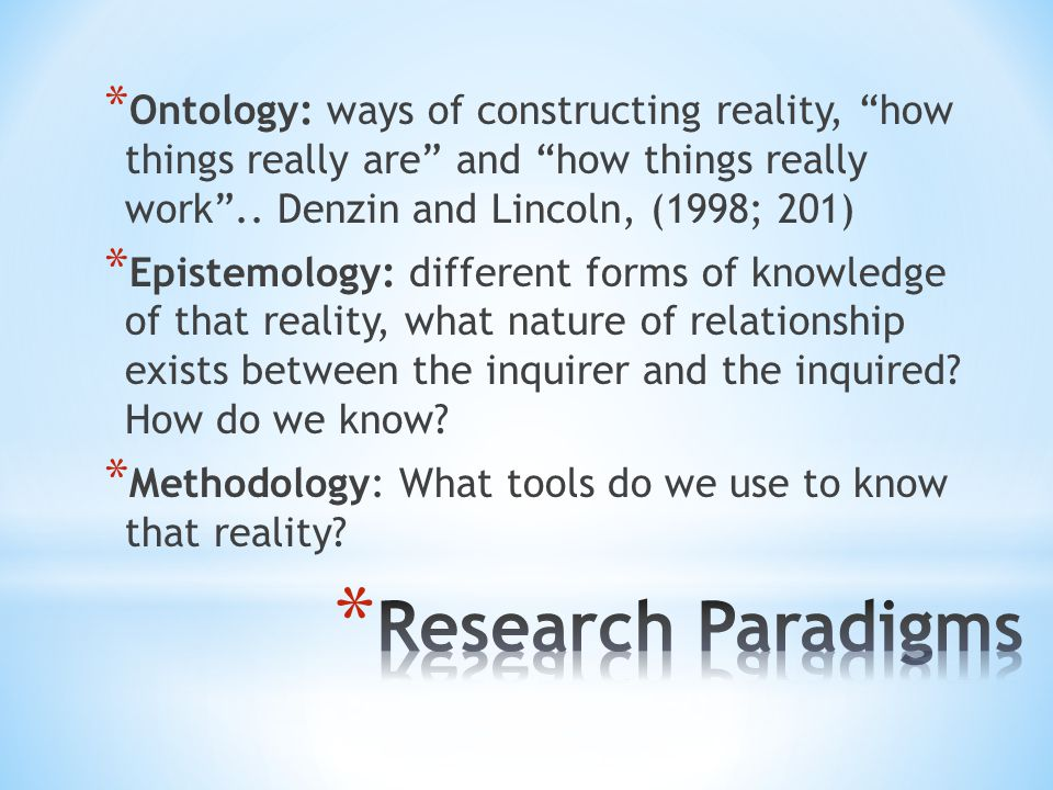 """* Ontology: ways of constructing reality, """"how things really are"""" and """"how things really work"""".. Denzin and Lincoln, (1998; 201) * Epistemology: diffe"""