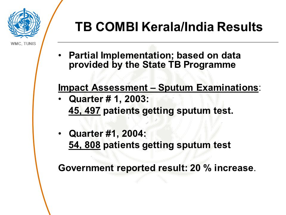 WMC, TUNIS TB COMBI Kerala/India Results Partial Implementation; based on data provided by the State TB Programme Impact Assessment – Sputum Examinati