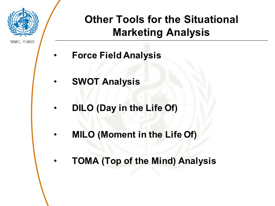 WMC, TUNIS Other Tools for the Situational Marketing Analysis Force Field Analysis SWOT Analysis DILO (Day in the Life Of) MILO (Moment in the Life Of