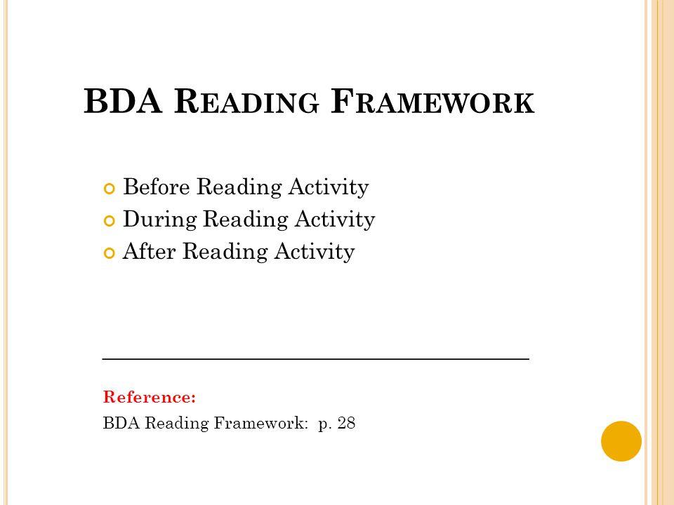 BDA R EADING F RAMEWORK Before Reading Activity During Reading Activity After Reading Activity ______________________________________ Reference: BDA Reading Framework: p.