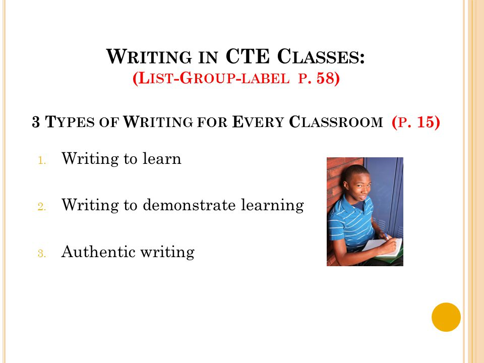 W RITING IN CTE C LASSES : (L IST -G ROUP - LABEL P. 58) 3 T YPES OF W RITING FOR E VERY C LASSROOM ( P. 15) 1. Writing to learn 2. Writing to demonst