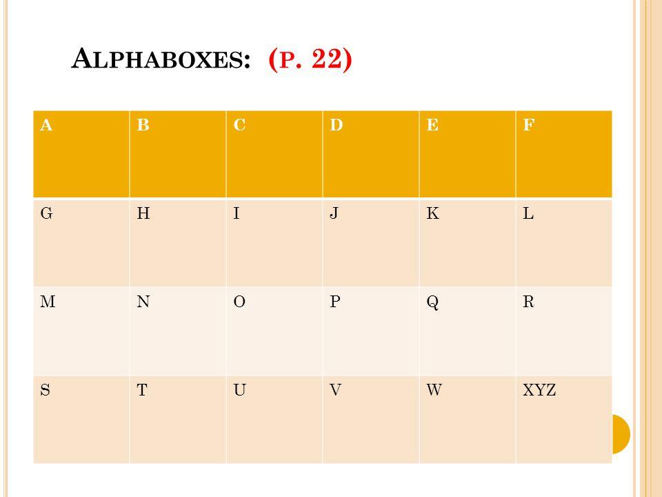 A LPHABOXES : ( P. 22) ABCDEF GHIJKL MNOPQR STUVWXYZ