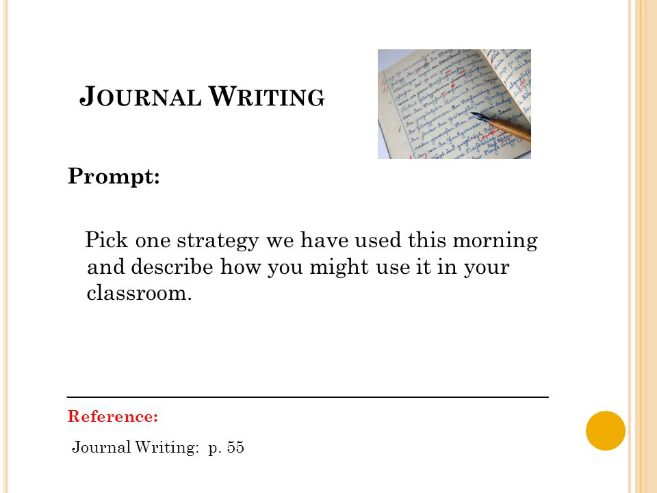 J OURNAL W RITING Prompt: Pick one strategy we have used this morning and describe how you might use it in your classroom.