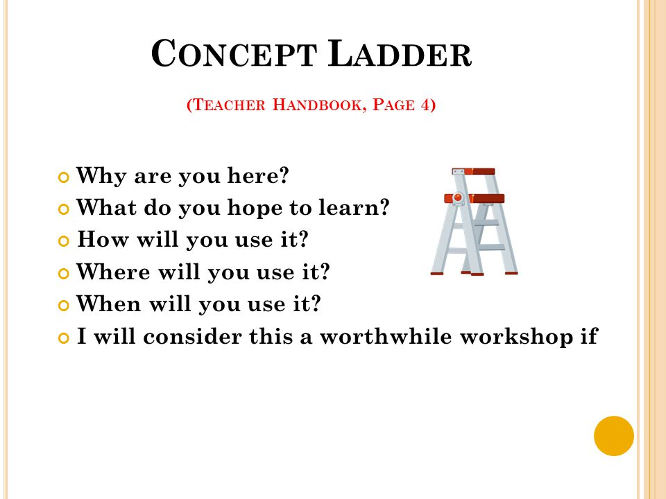 C ONCEPT L ADDER (T EACHER H ANDBOOK, P AGE 4) Why are you here? What do you hope to learn? How will you use it? Where will you use it? When will you