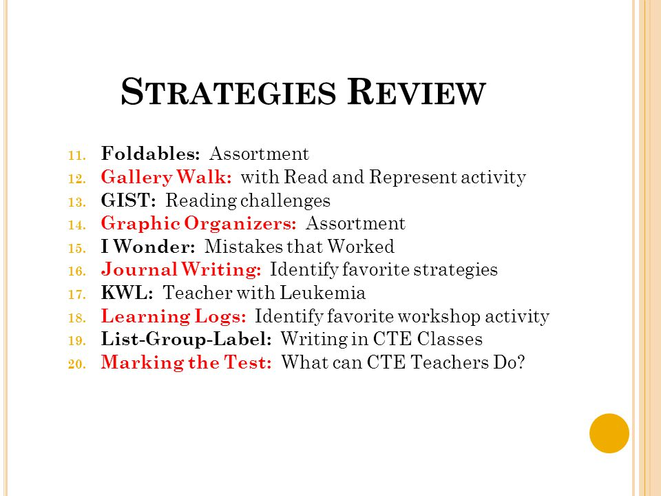 S TRATEGIES R EVIEW 11. Foldables: Assortment 12.
