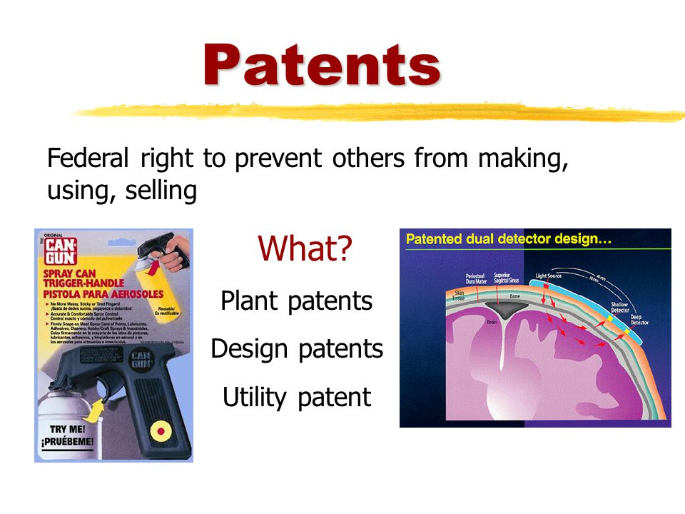 Patents Federal right to prevent others from making, using, selling What.