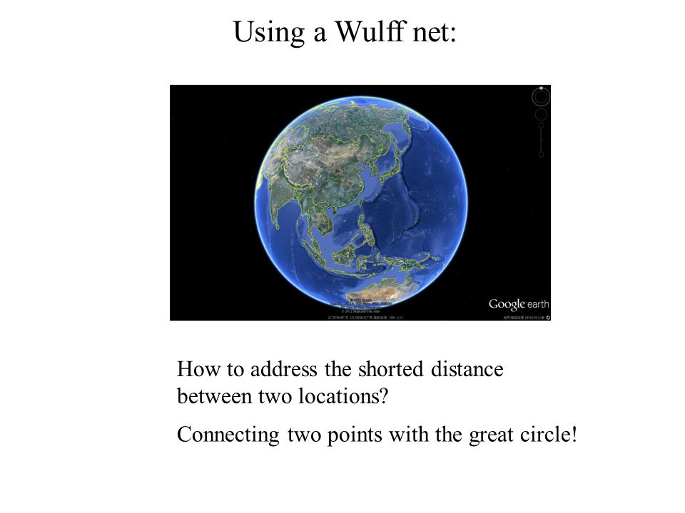 Using a Wulff net: How to address the shorted distance between two locations? Connecting two points with the great circle!