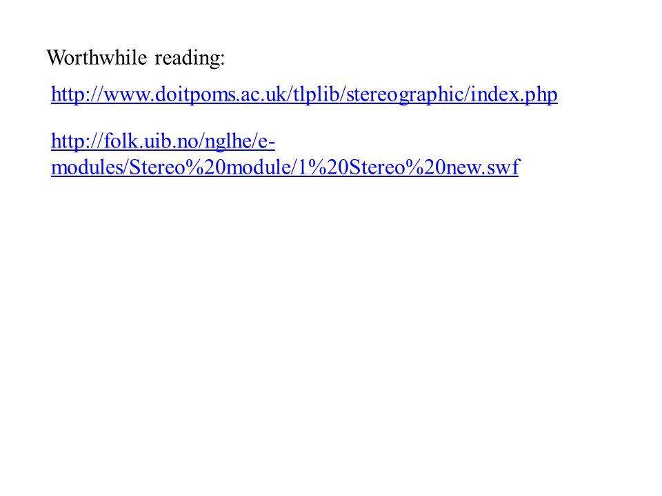 http://www.doitpoms.ac.uk/tlplib/stereographic/index.php Worthwhile reading: http://folk.uib.no/nglhe/e- modules/Stereo%20module/1%20Stereo%20new.swf