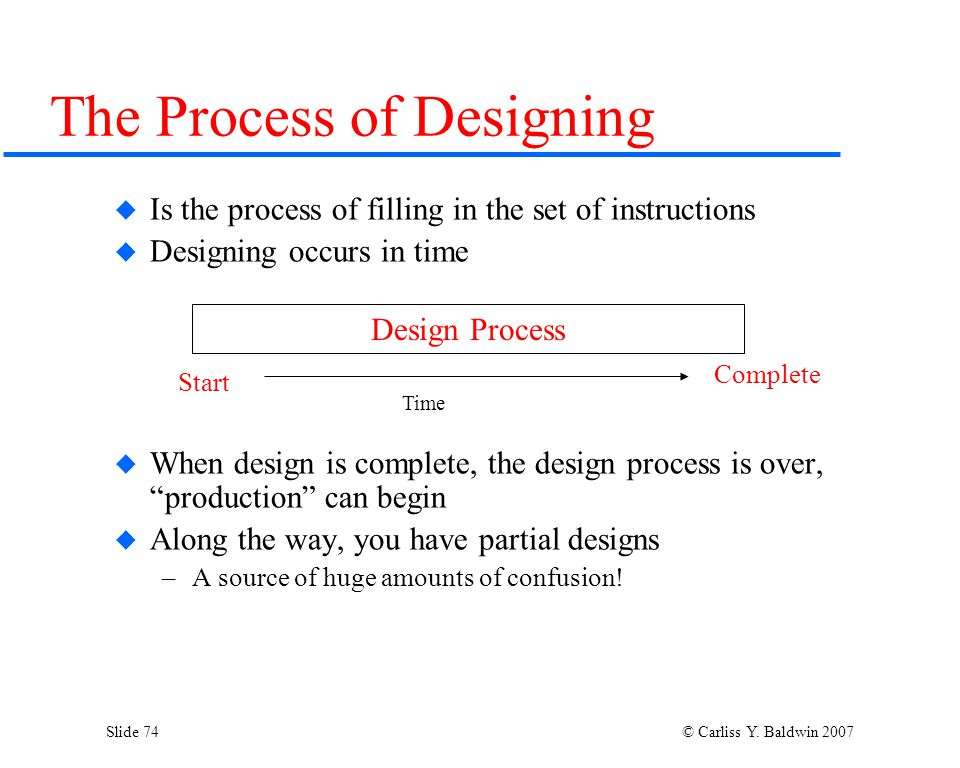 Slide 74 © Carliss Y. Baldwin 2007  Is the process of filling in the set of instructions  Designing occurs in time  When design is complete, the de