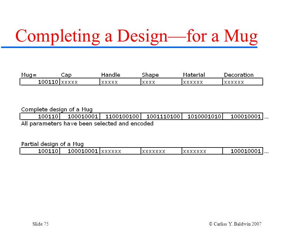 Slide 75 © Carliss Y. Baldwin 2007 Completing a Design—for a Mug