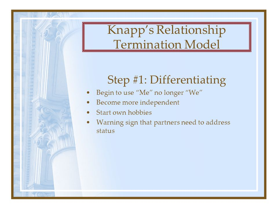 Step #1: Differentiating Begin to use Me no longer We Become more independent Start own hobbies Warning sign that partners need to address status Knapp's Relationship Termination Model