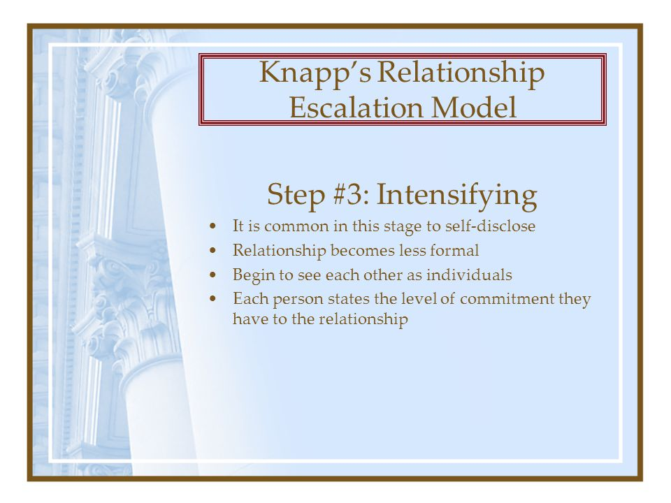 Step #3: Intensifying It is common in this stage to self-disclose Relationship becomes less formal Begin to see each other as individuals Each person states the level of commitment they have to the relationship Knapp's Relationship Escalation Model