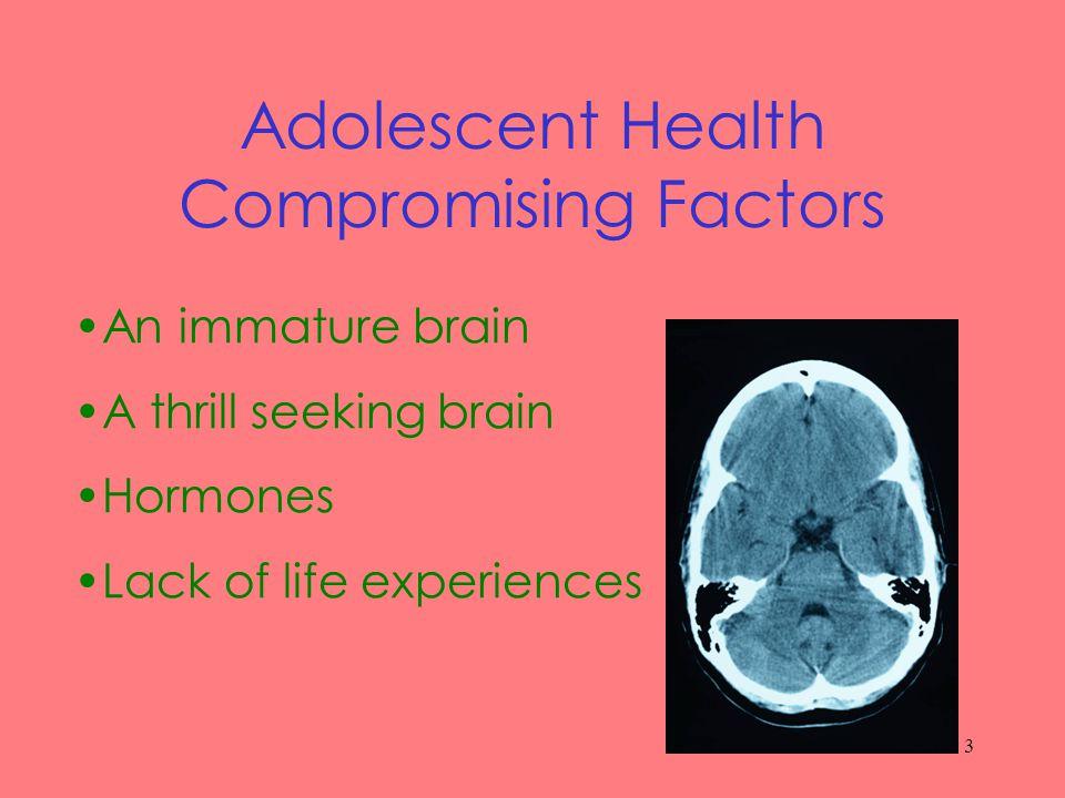 3 Adolescent Health Compromising Factors An immature brain A thrill seeking brain Hormones Lack of life experiences