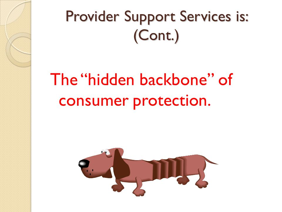 The hidden backbone of consumer protection. Provider Support Services is: (Cont.)