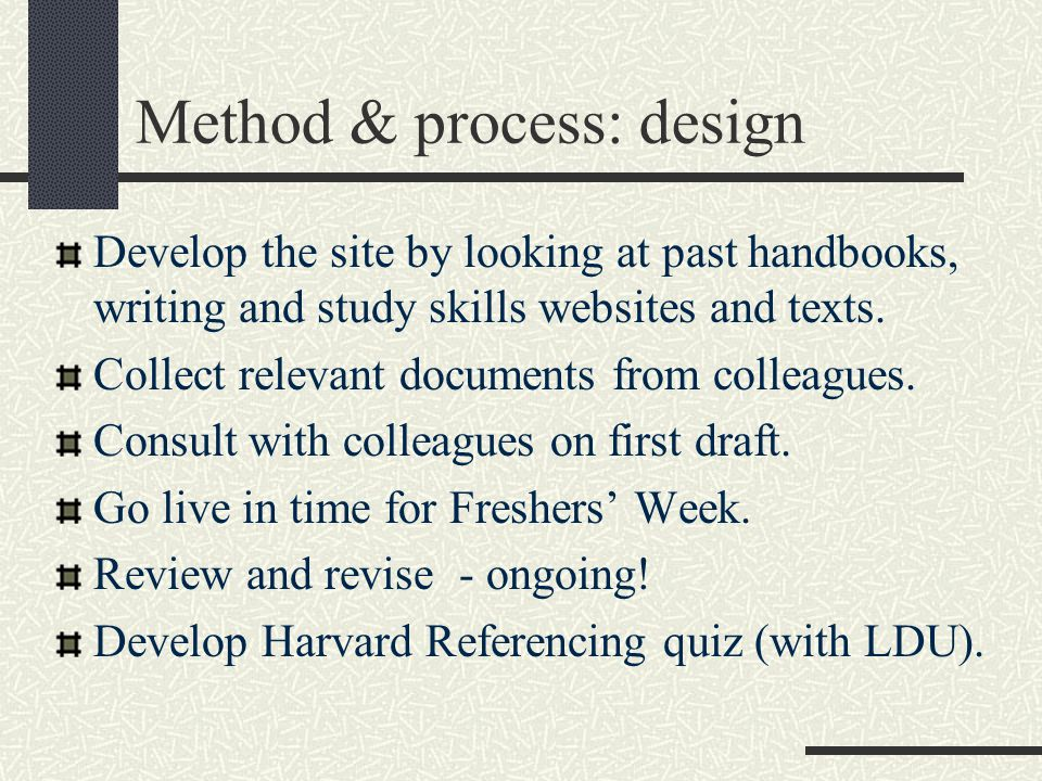 Method & process: design Develop the site by looking at past handbooks, writing and study skills websites and texts. Collect relevant documents from c