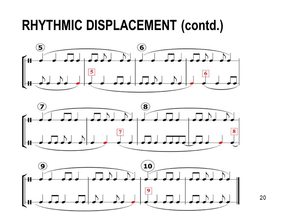 19 RHYTHMIC DISPLACEMENT TASK continued…