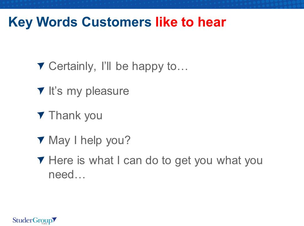 Key Words Customers like to hear Certainly, I'll be happy to… It's my pleasure Thank you May I help you.
