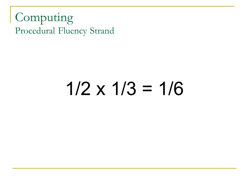 Computing Procedural Fluency Strand 1/2 x 1/3 = 1/6