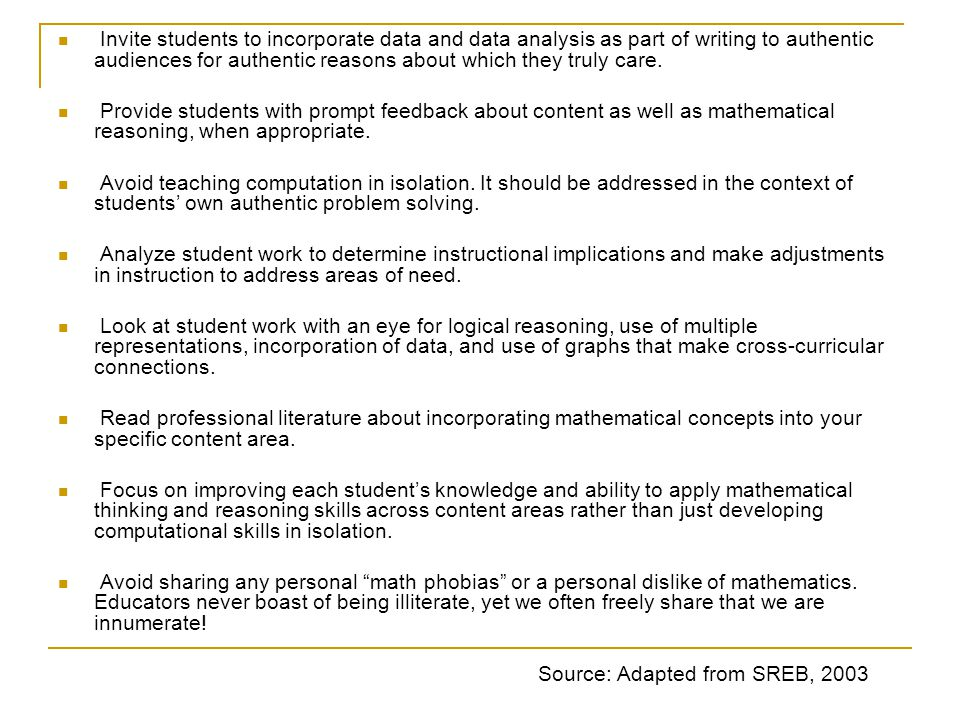 Invite students to incorporate data and data analysis as part of writing to authentic audiences for authentic reasons about which they truly care.