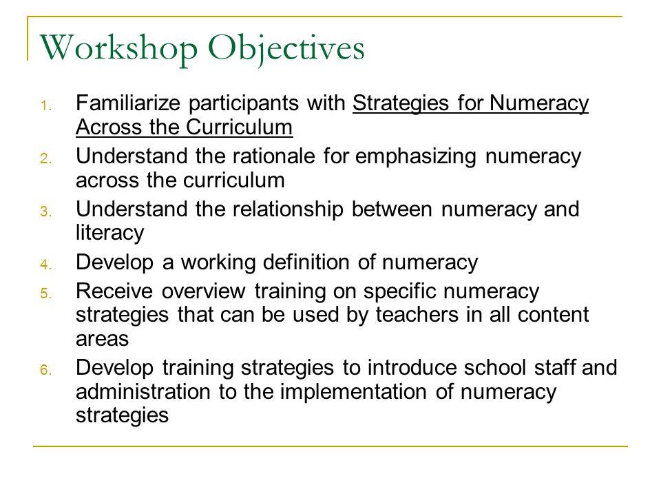 Workshop Objectives 1.