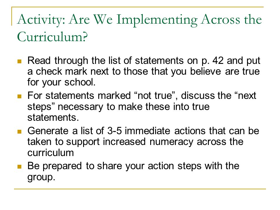 Activity: Are We Implementing Across the Curriculum.