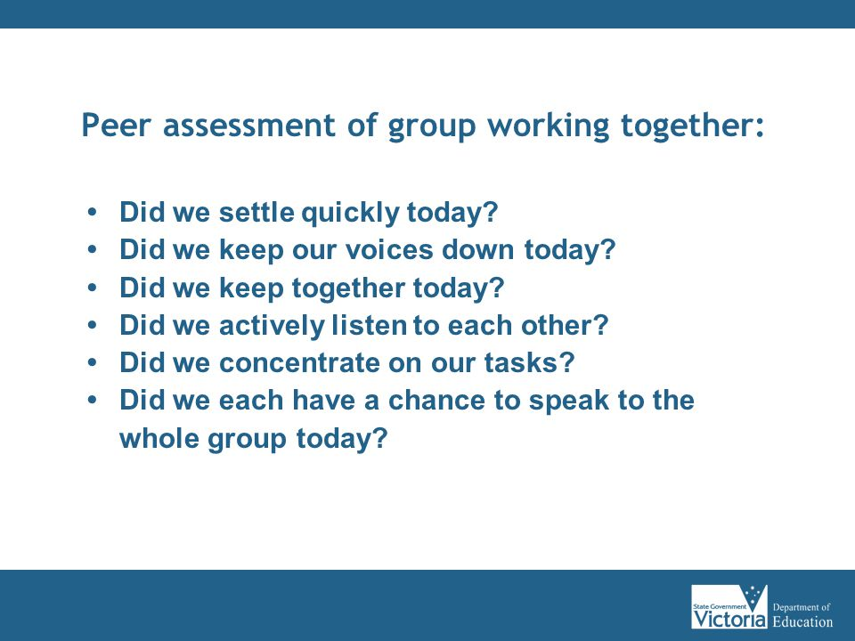 Peer assessment of group working together: Did we settle quickly today.