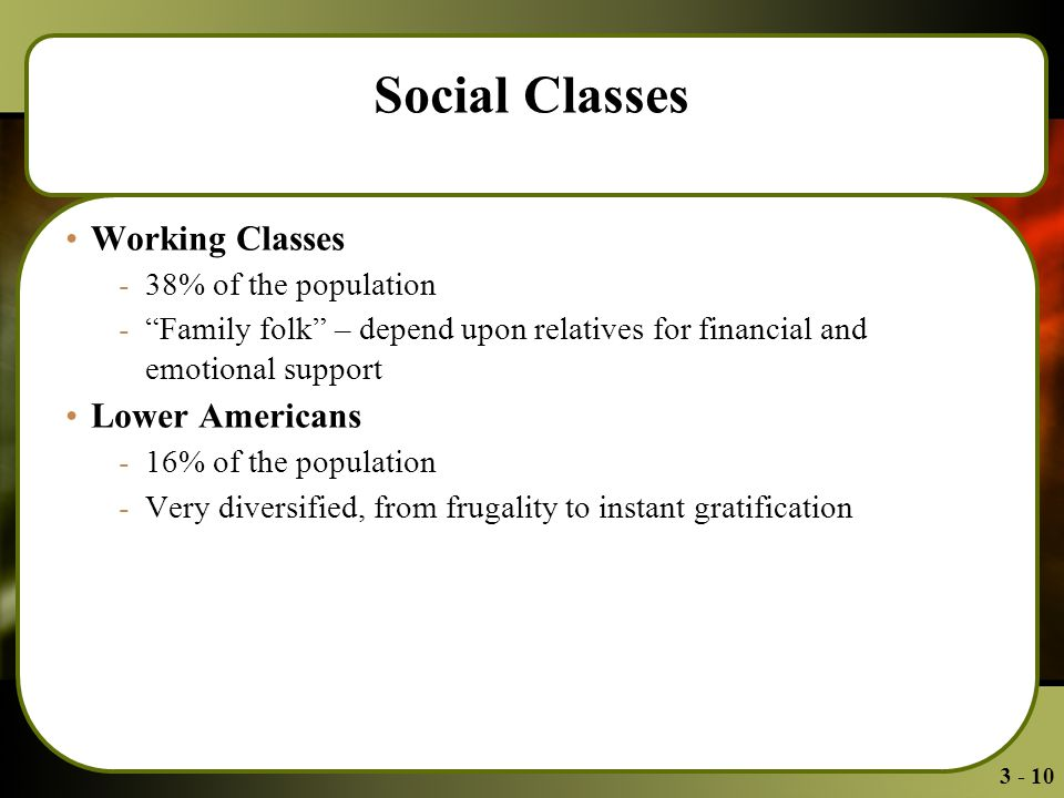 3 - 10 Social Classes Working Classes -38% of the population - Family folk – depend upon relatives for financial and emotional support Lower Americans -16% of the population -Very diversified, from frugality to instant gratification