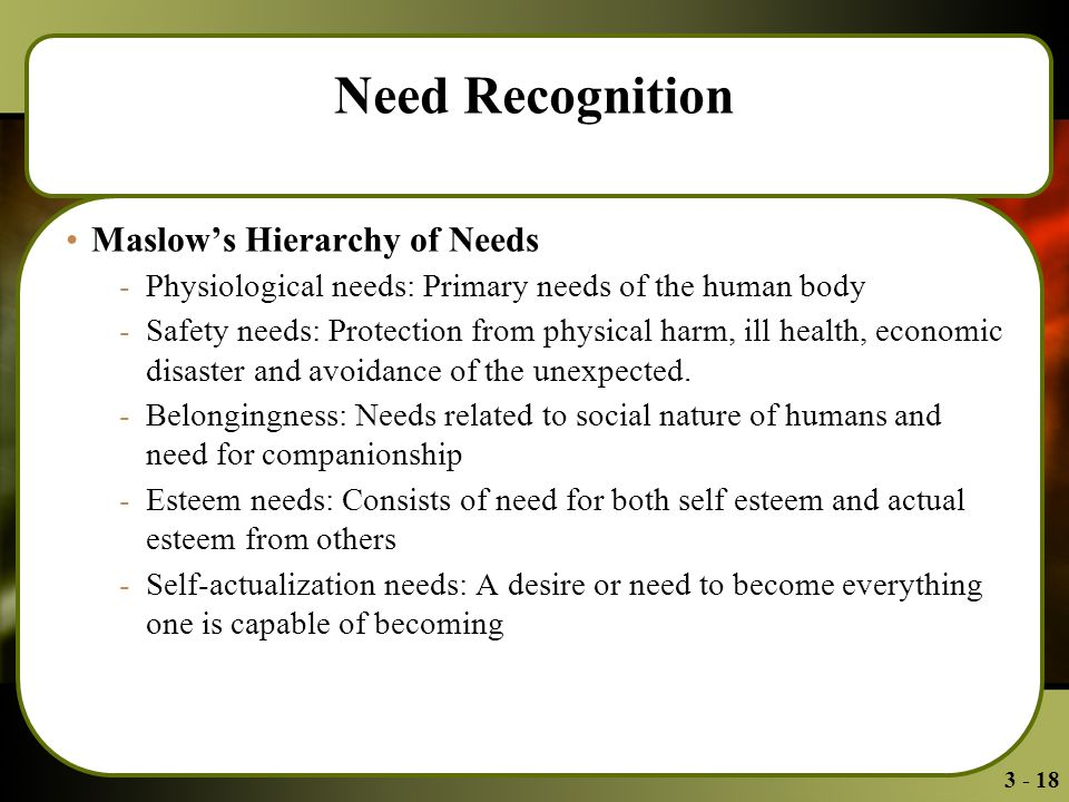3 - 18 Need Recognition Maslow's Hierarchy of Needs -Physiological needs: Primary needs of the human body -Safety needs: Protection from physical harm, ill health, economic disaster and avoidance of the unexpected.